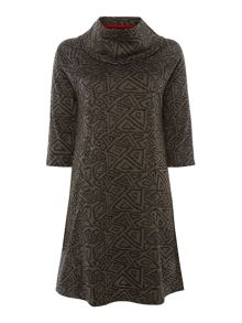 VIZ-A-VIZ Textured Cowl Neck Dress