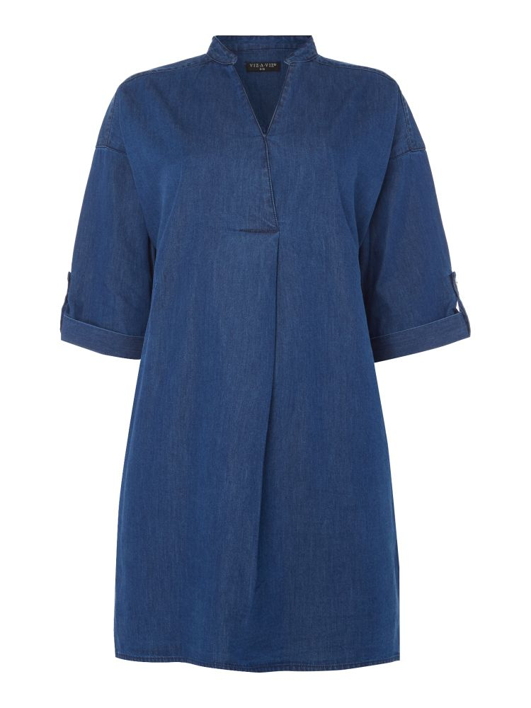 VIZ-A-VIZ Denim Dress, Blue