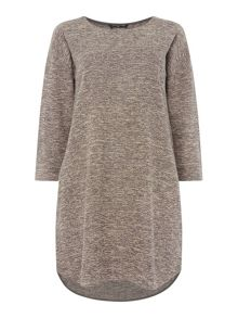 VIZ-A-VIZ Textured Crew Neck Dress