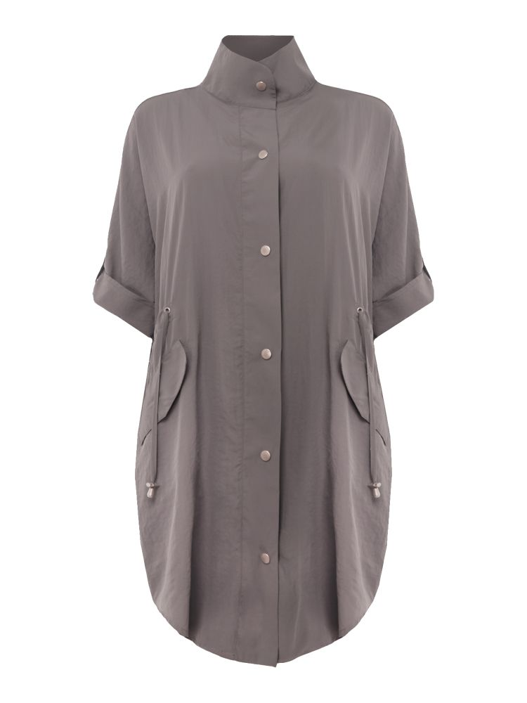 VIZ-A-VIZ Lightweight Drawstring Coat, Grey