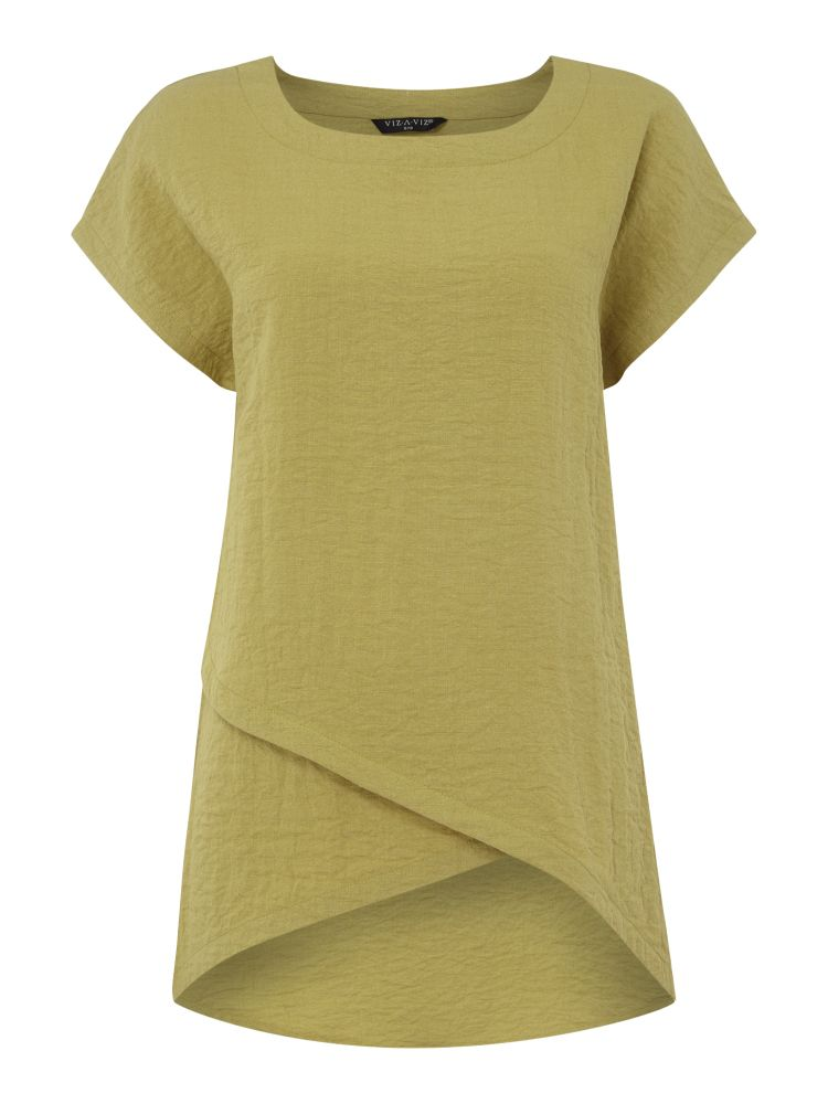 VIZ-A-VIZ Asymetric Cap Sleeve Tunic, Green