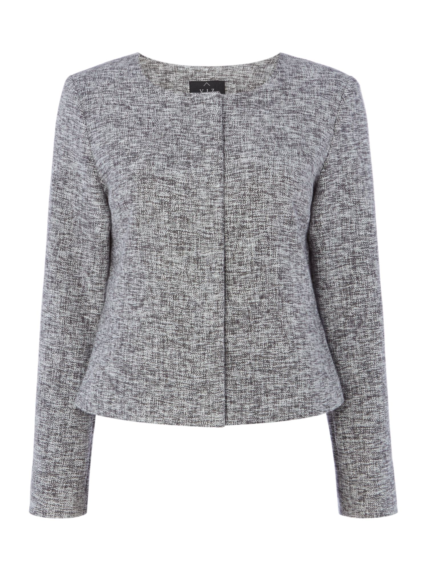 VIZ-A-VIZ Cropped Textured Jacket, Grey
