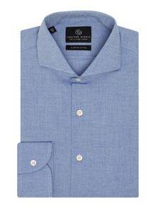 Chester Barrie Herringbone Tailored Fit Long Sleeve Shirt