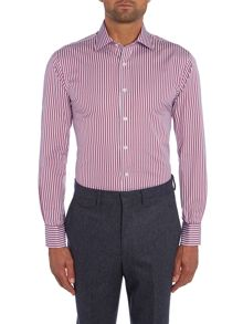 Chester Barrie Stripe Tailored Fit Long Sleeve Classic Collar Fo