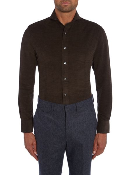 Chester Barrie Textured Tailored Fit Long Sleeve Cutaway Collar