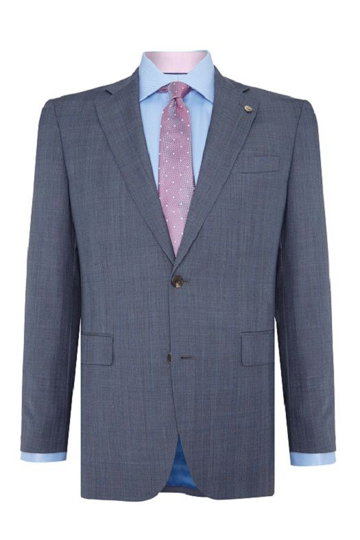 Men's Chester Barrie Tailored Fit Suit Pale Blue Pow Check, Light Blue