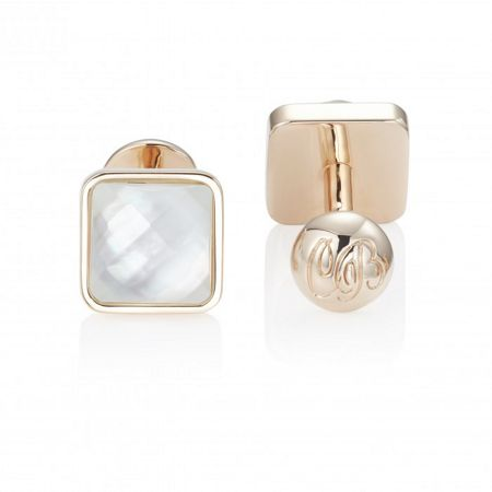 Chester Barrie Crystal Cap Rose Gold Plated Cufflinks