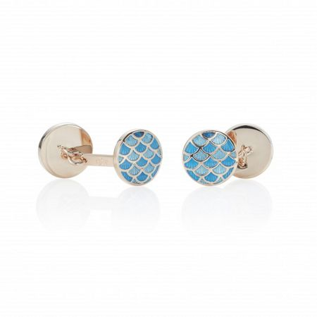 Chester Barrie Round Enamel Cycloid Rose Plat Cufflinks