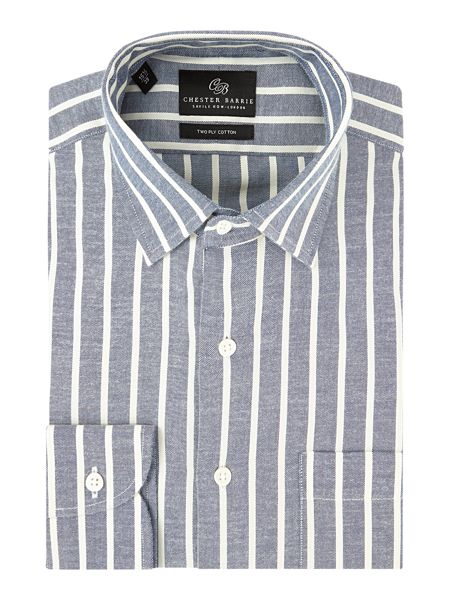 Chester Barrie Contemporary Cream Stripe Oxford Shirt