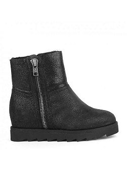 Yang glitter shearling wedge boots