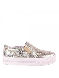 Jungle metallic leather trainers