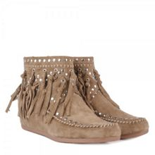 Ash Spirit suede fringe low wedge boots