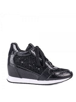 Dream lace wedge leather trainers