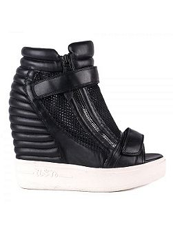 Ash Addict leather wedge trainers