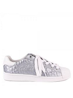 Cosmic embossed leather trainers