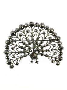 Indulgence Jewellery Gunmetal fanned peacock brooch