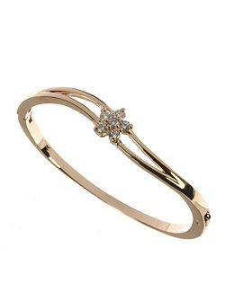 Rose gold colour bangle with cz stones