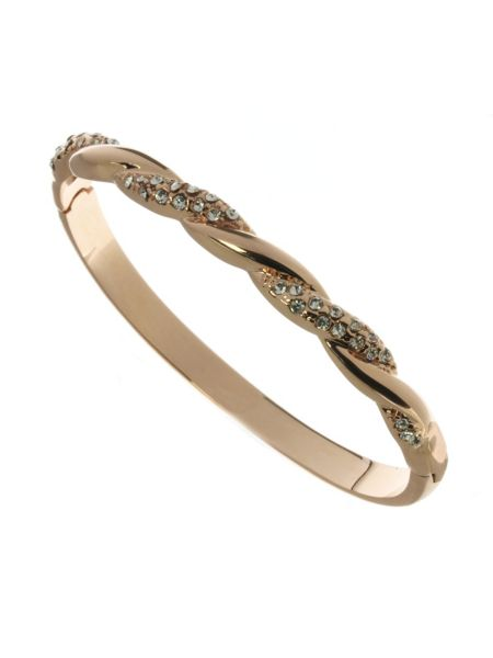 Indulgence Jewellery Rose gold colour bangle with crystals