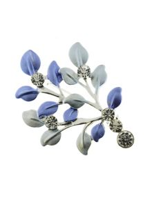 Indulgence Jewellery Blue leaves brooch
