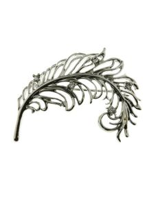 Indulgence Jewellery Rhodium plated feather brooch