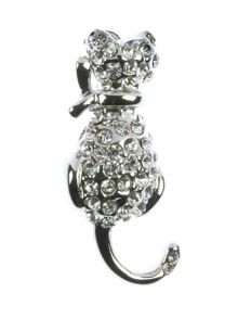 Indulgence Jewellery Indulgence small crystal cat brooch