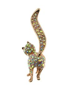 Indulgence Jewellery Indulgence rainbow crystal cat brooch