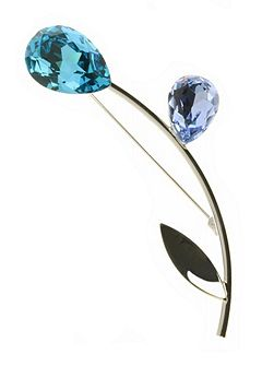 Indulgence aqua crystal flower brooch