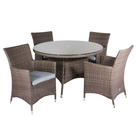 Cozy Bay Hawaii rattan 4 seater dining set with low back c