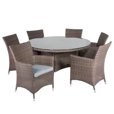 Cozy Bay Hawaii rattan 6 seater dining set with low back c