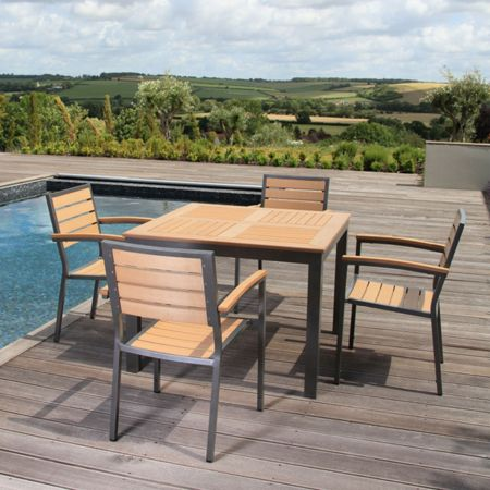 Sol Bistro 4 seater dining set with square table in teak asi