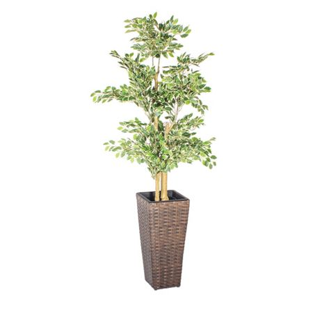 Cozy Bay Square rattan planter 60cm with plastic inlay