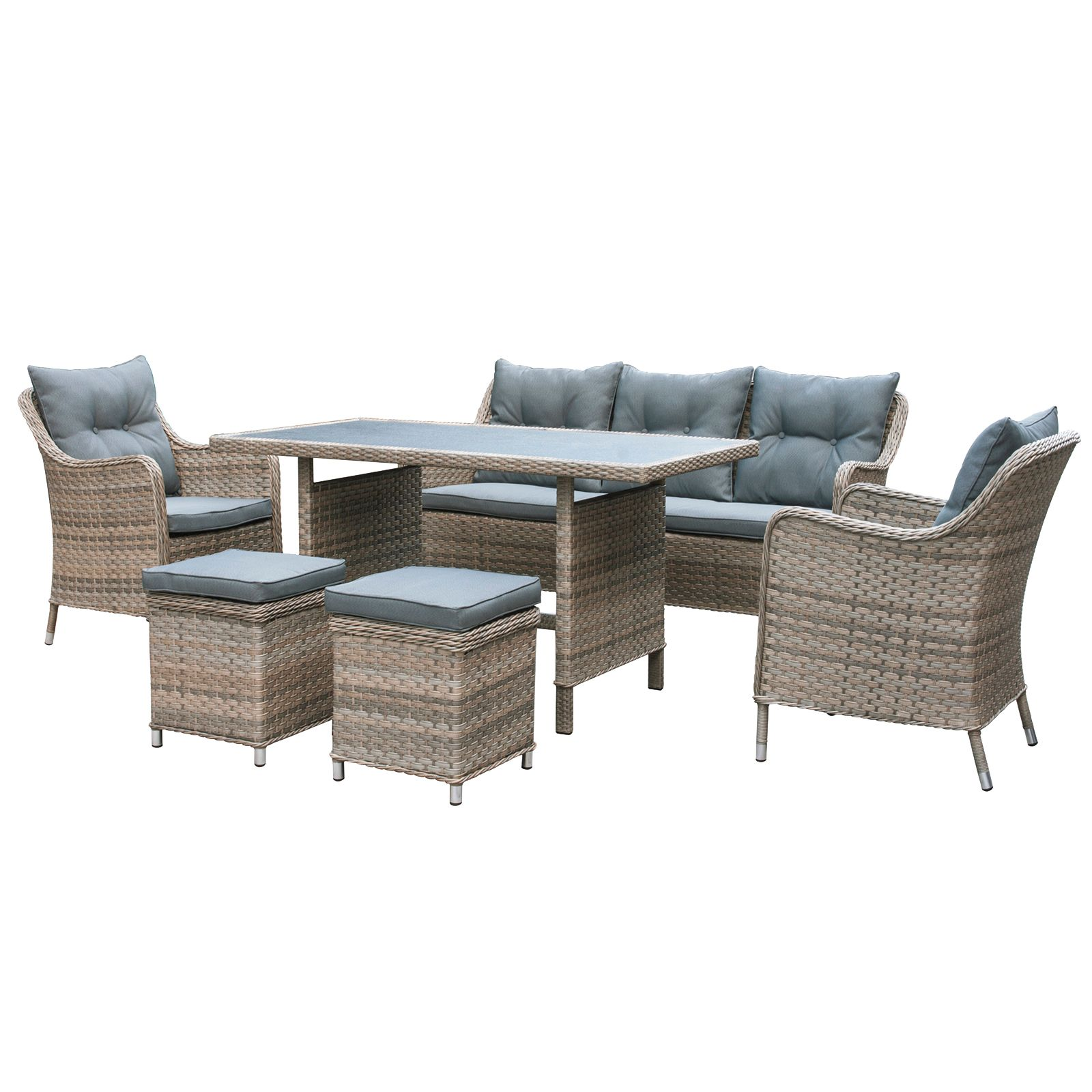 27 off oseasons kensington rattan 7 seater sofa dining for Lounge garden furniture sets
