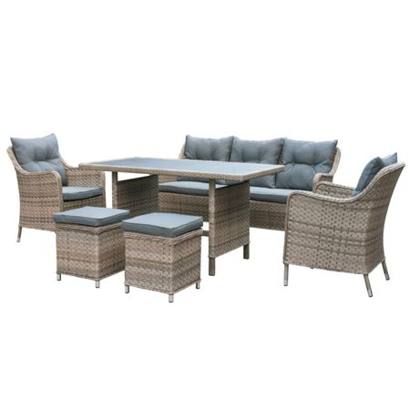 Oseasons Kensington rattan 7 seater sofa dining lounge set