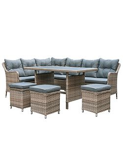 Kensington rattan 8 seater sofa dining corner set