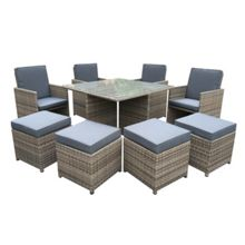 Oseasons Cube rattan 8 seater dining set in chic walnut