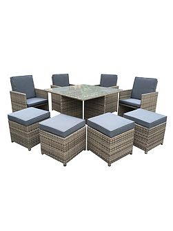 Cube rattan 8 seater dining set in chic