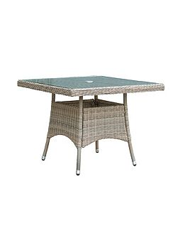 Eden rattan 4 seater square dining table in