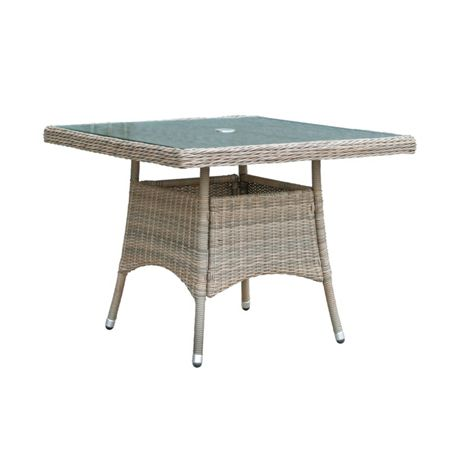Oseasons Eden rattan 4 seater square dining table in chic