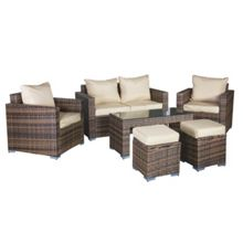 Oseasons Oxford rattan modular 6 seater lounge set in capp