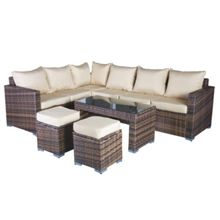 Oseasons Oxford rattan modular 7 seater corner set in capp