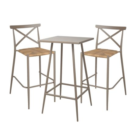 Oseasons Milos rattan & aluminium 2 seater bar set in ligh