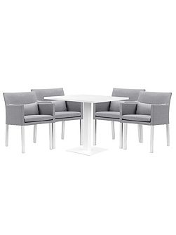 Verona aluminium & fabric 4 seater dining set