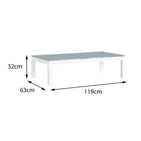 Cozy Bay Verona aluminium coffee table in white with frost