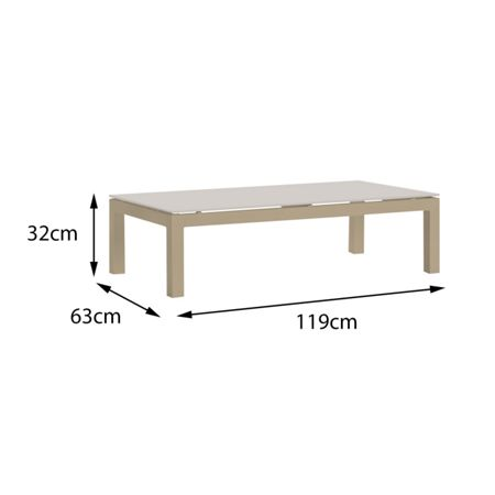 Cozy Bay Verona aluminium coffee table in light taupe with