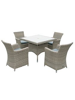 Eden rattan 4 seater dining set with square