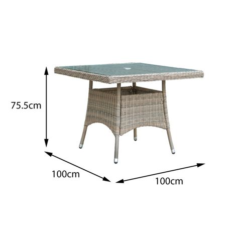 Oseasons Eden rattan 4 seater dining set with square table