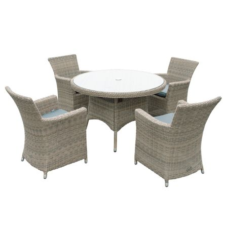 Oseasons Eden rattan 4 seater dining set in chic walnut
