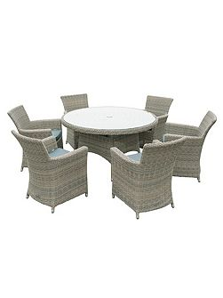 Eden rattan 6 seater dining set in chic