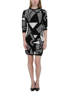 Knitted bodycon jigsaw patterned dress