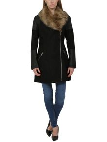 PU Wool Mixed Long Biker